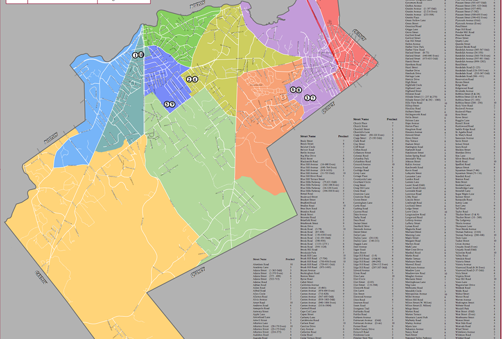 Map of the town of milton massachusetts precinct poling places