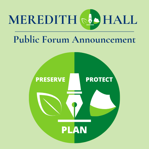 Round Duo Tone Green Logo with leaf, pen and sheild, Stating Preserve, Plan Protect and Public Forum Announcement