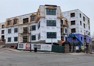 Multi unit housing. Building in progress in Milton Massachusetts